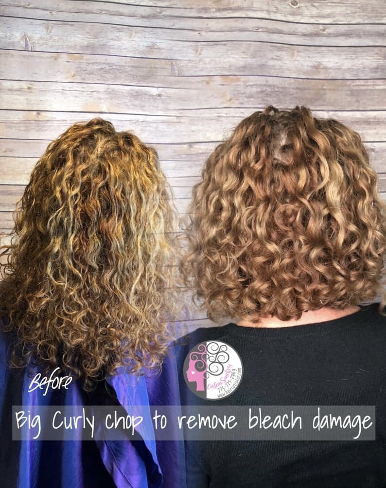 Image of bleach damage on curly hair by Naturally Curly Hair and Color Artist Carleen Sanchez in Reno, Nevada 775-721-2969